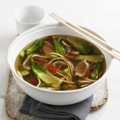 See off winter chills with this steaming Asian-style duck & noodle soup recipe with chilli and pak choi