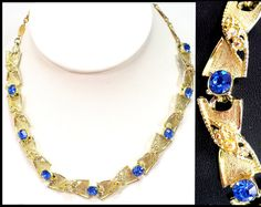 #VogueTeam #TeamLove #Vintage 1960s Royal Blue & AB Rhinestone Necklace, Aurora Borealis in Gold, Blue Gold Choker, Astronaut Wives Club Glam
