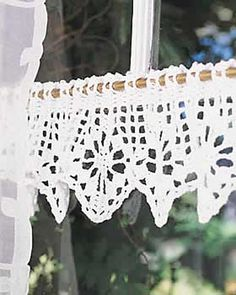Crochet Valance pattern.  I made this for my bathroom window and it turned out beautiful!  Not very difficult but you do have to pay attention to the pattern.