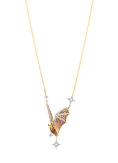 """Flight at Night CO-79. 18 kt yellow gold necklace with """"pliqué-à-jour"""" and """"basse taille"""" fired enamel and diamonds.  #jewelry #artnouveau #enamel #barcelona"""