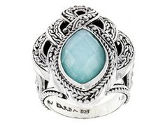 Artisan Gem Collection Of Bali(Tm) Mexican Turquoise Doublet And .60ctw Multi-gem Silver Ring