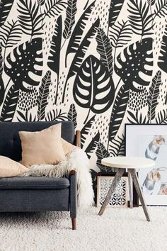 Peel and Stick Wallpaper Botanical Tropical Leaves Wall Mural Self Adhesive Removable Wallpaper Black and White Temporary Wallpaper Accent Wallpaper, Wallpaper Stores, Art Deco Wallpaper, Chinoiserie Wallpaper, Kids Room Wallpaper, Watercolor Wallpaper, Modern Wallpaper, Vinyl Wallpaper, Peel And Stick Wallpaper