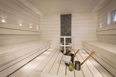 Epäsuora valaistus valaisee pehmeästi ja tuo tunnelmaa saunaan. Klikkaa kuvaa, niin näet tarkemmat tiedot. Sauna Design, Sauna Room, Spa Rooms, Steam Room, Saunas, Home Spa, New Homes, Relax, Home Appliances