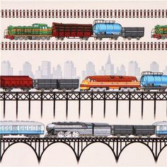 cream colored freight train bridge stripes fabric by Timeless Treasures USA 1
