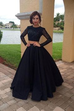 Long Sleeves Black Two Pieces Prom Dresses For Teens,Modest Prom Gowns,Charming Evening Dresses,Women Dresses, - Moda Prom Dresses Two Piece, Prom Dresses For Teens, Evening Dresses Plus Size, Prom Dresses Long With Sleeves, Black Prom Dresses, Prom Party Dresses, Quinceanera Dresses, Formal Evening Dresses, Sexy Dresses