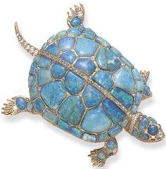 Rare Antique Opal Diamond Turtle Pin: