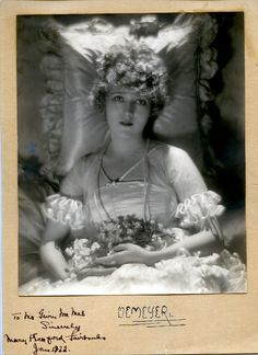 ULTRA RARE MARY PICKFORD VINTAGE 1922 SIGNED MATTED DE MEYER PHOTO USED IN VOGUE #AutographedPhoto