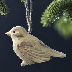 Plume Carved Bird Decorations, Set of Three