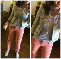 pink jeans, grey tee, denim jacket = spring!