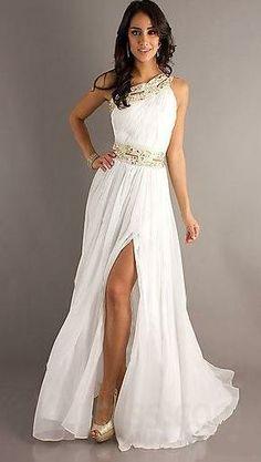 Gold, white dress
