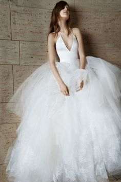 Ballerina-esque Vera Wang gown: http://www.stylemepretty.com/2014/10/23/14-halter-dresses-that-will-make-you-swoon/