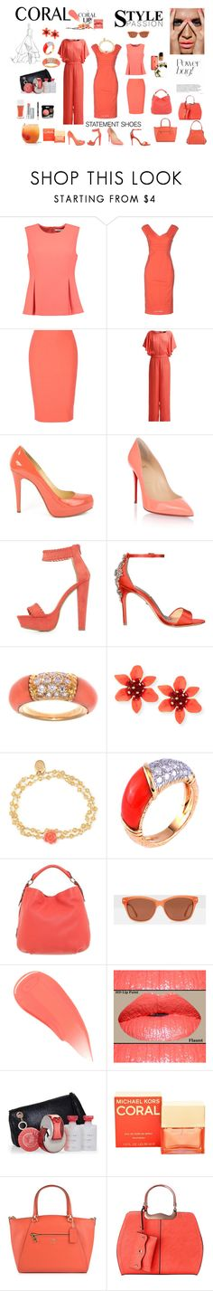 """Coral Fantasy"" by perezbarrios on Polyvore featuring Diane Von Furstenberg, Twin-Set, Elizabeth and James, VILA, Christian Louboutin, Charlotte Russe, Badgley Mischka, Van Cleef & Arpels, OSCAR Bijoux and Bogner"