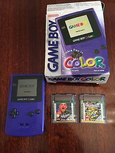 #Nintendo game boy #color - #purple with 2 games,  View more on the LINK: 	http://www.zeppy.io/product/gb/2/282097066508/
