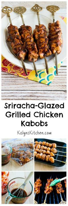 When I traveled to Turkey I bought the lovely skewers I used to make these Sriracha-Glazed Grilled Chicken Kabobs.  You can control the heat by using less (or more!) Sriracha in the glaze, and my nieces 11 year old gobbled up one of the milder versions we tested.  These are perfect for a summer get-together, especially if your family and friends are fans of Sriracha! #LowCarb #GlutenFree [from KalynsKitchen.com]