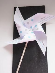 Menu moulin à vent à pois gris & bleu mariage - décoration baptême - décoration de table : Cuisine et service de table par nessygan