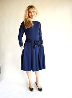 Casual blue dress with long sleeves fit and flare dress dark blue dress with pockets kimono dress navy dress midi dress knee length autumn