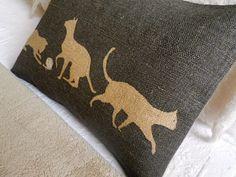 hand printed charcoal cats cushion. $64.00, via Etsy.