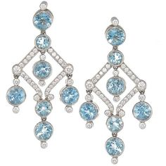 Preowned Tiffany & Co. Aquamarine Diamond Platinum Dangle Earrings ($8,700) ❤ liked on Polyvore featuring jewelry, earrings, chandelier earrings, multiple, long post earrings, white chandelier earrings, diamond earrings, diamond dangle earrings and round diamond earrings
