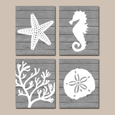 Beach BATHROOM Wall Art CANVAS or Prints Nautical by TRMdesign