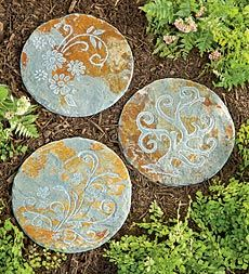 Botanical Slate Stepping Stones...  for the patio path leading toward the concrete bench