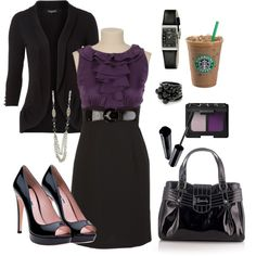"""This would be perfect for work!"" Got the black cardigan and the black pumps and the black purse"