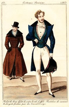 Dandy fashion, 1831 France, Journal des Dames et des Modes -- Oh, those wacky dandies!  It was all about creating the impression of breadth across the shoulders, plus a tiny waist and well-formed legs. High-fashion men's trousers were getting tighter and tighter!