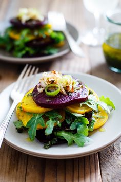 Roasted Beet Salad with Crispy Shallots & Tarragon-Basil Olive Oil - Snixy Kitchen