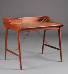 Svend Åge Madsen; Teak and Brass Desk for K. Knudsen and Son, c1958.