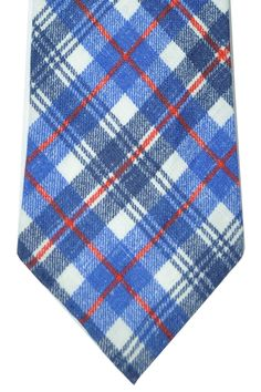 Linen Kiton 7 fold tie in blue white and red striped plaid design