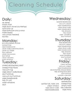 Weekly Cleaning Schedule - Classy Clutter