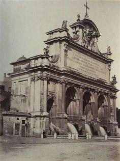 1865/70 Molins Pompeo (attr.) Fontanone dell' Acqua Paola con personaggio seduto.