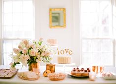 Pink & copper dessert table  / Photography by: White Loft Studio / Design & Styling by: Style Me Pretty at Home