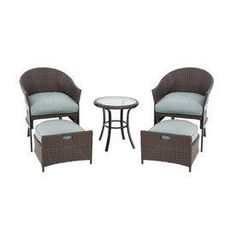 Perfect Patio Furniture For A Small E Garden Treasures South Point Brown Woven Conversation Set With Cushions