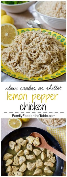 Flavorful, easy, bright lemon-pepper chicken you can make in the slow cooker or on the stove, plus 6 ways to serve it! Omit oil for Phase 1 and Phase 2.