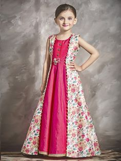 Buy Striking Beautiful Printed Kid Girl Gown for Festival is Jacket Style Gown. Pink and Cream Kids Girl Gown with Print and Lace Work. Gowns For Girls, Frocks For Girls, Dresses Kids Girl, Kids Long Frocks, Girls Dresses Sewing, Kids Party Wear Dresses, Kids Dress Wear, Girls Frock Design, Baby Dress Design