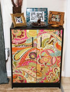 Ponderings on my Wanderings: Modernize Cheap Furniture: DIY Bookshelf and Furniture Redo with Fabric