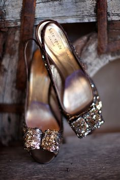 Gold bow sparkly kate spade shoes