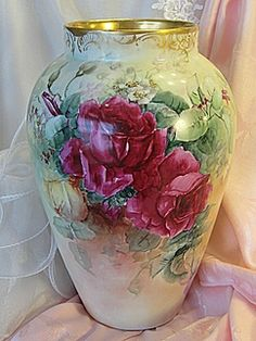 Absolutely Beautiful ~ MAGNIFICENT Limoges France Hand Painted Antique MAMMOTH VASE Gorgeous Large Pink Burgundy and Yellow TEA ROSES Circa 1900's