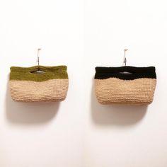 これも持って行きます! #麻ひもバッグ#クラッチ#ツートーン#シンプル#黄緑#黒