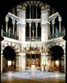 Palatine Chapel of Charlemagne, Odo of Metz, Charlemange(patron), Aachen Germany