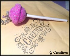 G CREATIONS: Custom Orders, May 2013 #lollipop #glitter #necklace #food #sweet #cute #colorful #pink #mini #miniature #jewelry #handmade #polymer #clay #gcreations