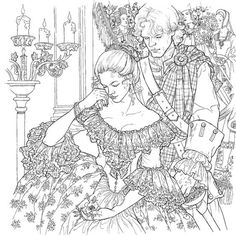 extremely difficult adult coloring pages of victorian woman