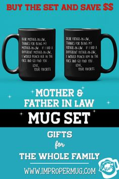 Mug Sets | Dear Father in Law and Mother in Law Mug Set – Love Your Favorite – Face Punch Funny Coffee Mugs. Save $$$ Buy the Set! This is a listing for two mugs. They are packaged and shipped separately allowing you to have two gifts or gift them together! Design printed on both the front and back sides of the mug. 100% Dishwasher and Microwave safe. Collect this awesome mug set. #MotherInLawMugSet #FatherInLawMugSet #MugSet #FunnyCoffeeMugs #MugSetForCouple #CoupleMugs #Mugs #impropermug