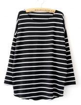 Black Long Sleeve Striped Loose T-shirt