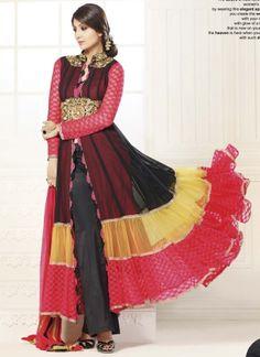 Shilpa Multicolored Georgette Embroidery Stone Work Anarkali Suit http://www.angelnx.com/Salwar-Kameez/