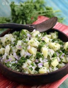 Here is a mouth-watering Lebanese Salad with the dominant flavour of parsley! You will find this Potato Salad quite different from the traditional salads you might have tried so far, as it uses an off-beat combination of ingredients like cooked potatoes, chopped onions, garlic and herbs, perked up with lemon juice. Be generous with the olive oil and lemon juice as these help bind the ingredients together and balance their flavours, bringing the pungency down to an enjoyable level. Relish…