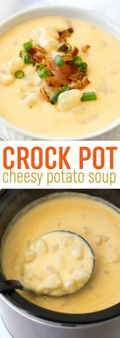 This easy crock pot cheesy potato soup recipe is so easy to whip up in your slow cooker. It's the ultimate comfort food! This easy crock pot cheesy potato soup recipe is so easy to whip up in your slow cooker. It's the ultimate comfort food! Slow Cooker Potato Soup, Crock Pot Slow Cooker, Crock Pot Cooking, Slow Cooker Recipes, Cooking Recipes, Easy Crockpot Potato Soup, Potato Soup Recipes, Chicken Recipes, Food Dinners