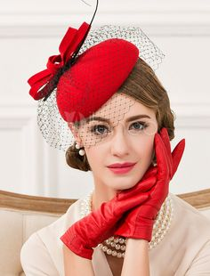d29aeadeebe Red bow pillbox hat with veil for women wool occasion hats autumn wear
