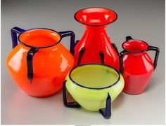 FOUR CZECH TANGO-STYLE GLASS VESSELS 20TH CENTURY. STAMPED AND INCISED CZECHOSLO