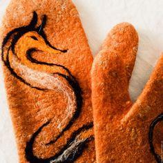 """Купить Варежки-руковицы валяные . """" Лиса"""" - оранжевый, рукавички, рукавицы валяные, валяные рукавицы"""